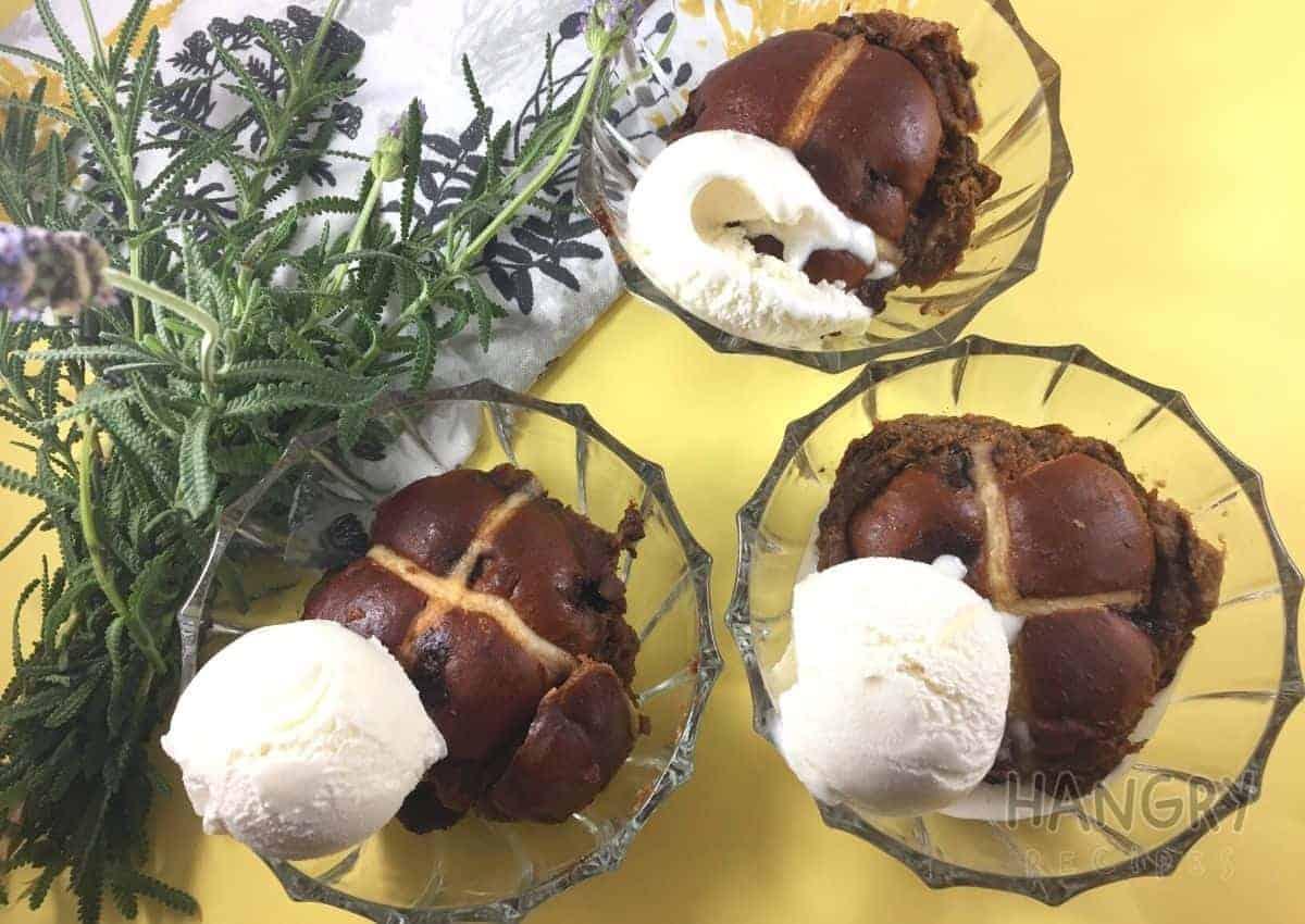 Chocolate Hot Cross Buns baked in Cream Sauce