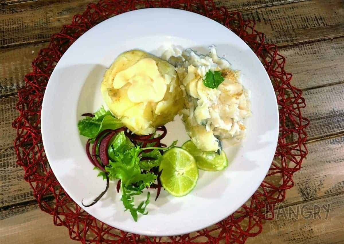 Steamed Hake with Potatoes & a dollop of mayonnaise - Hangry Recipes