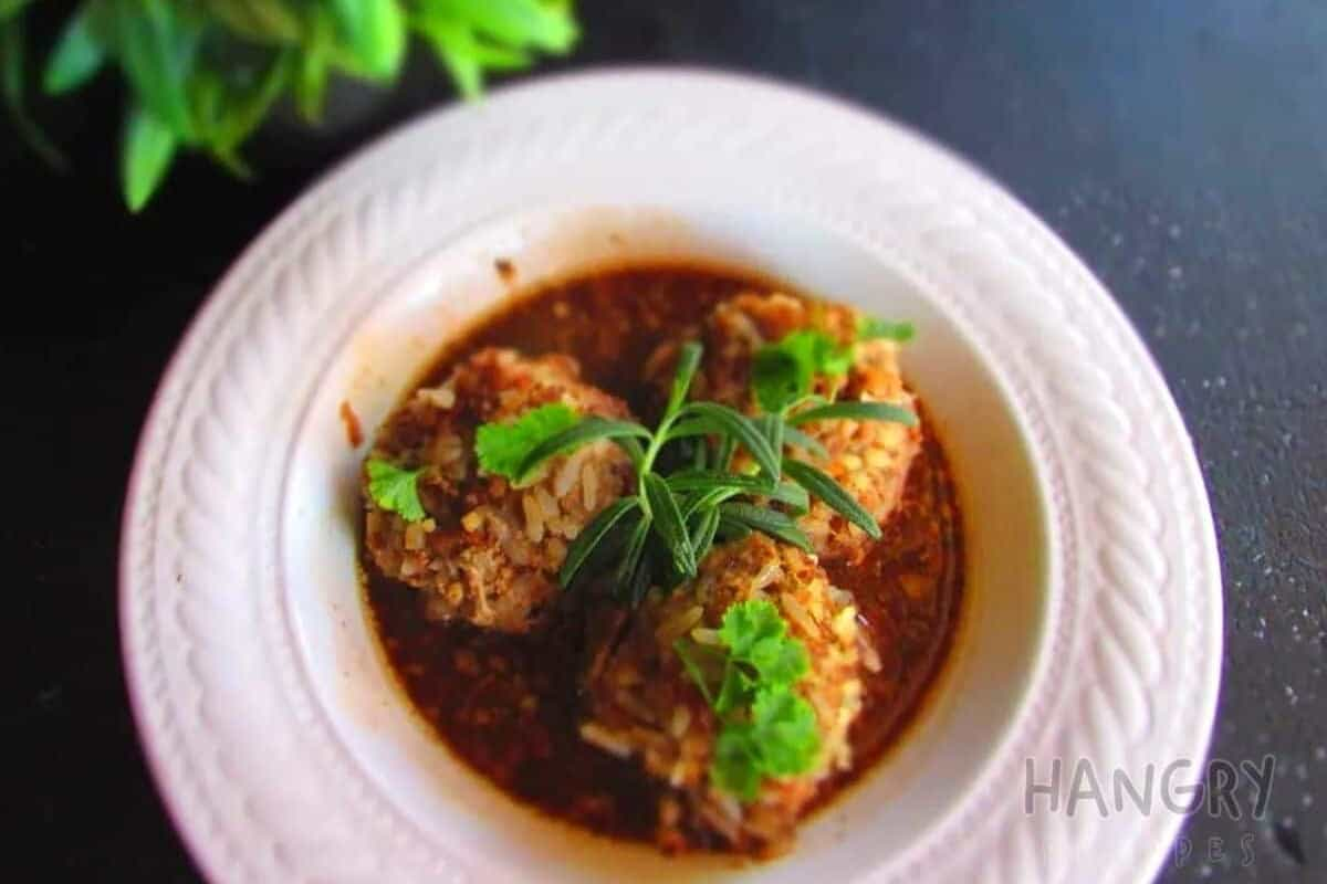 Rice Meatballs with a silky Red Wine Sauce