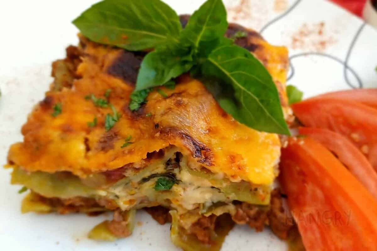 Lasagna Layered with Fresh Baby Leaf Spinach