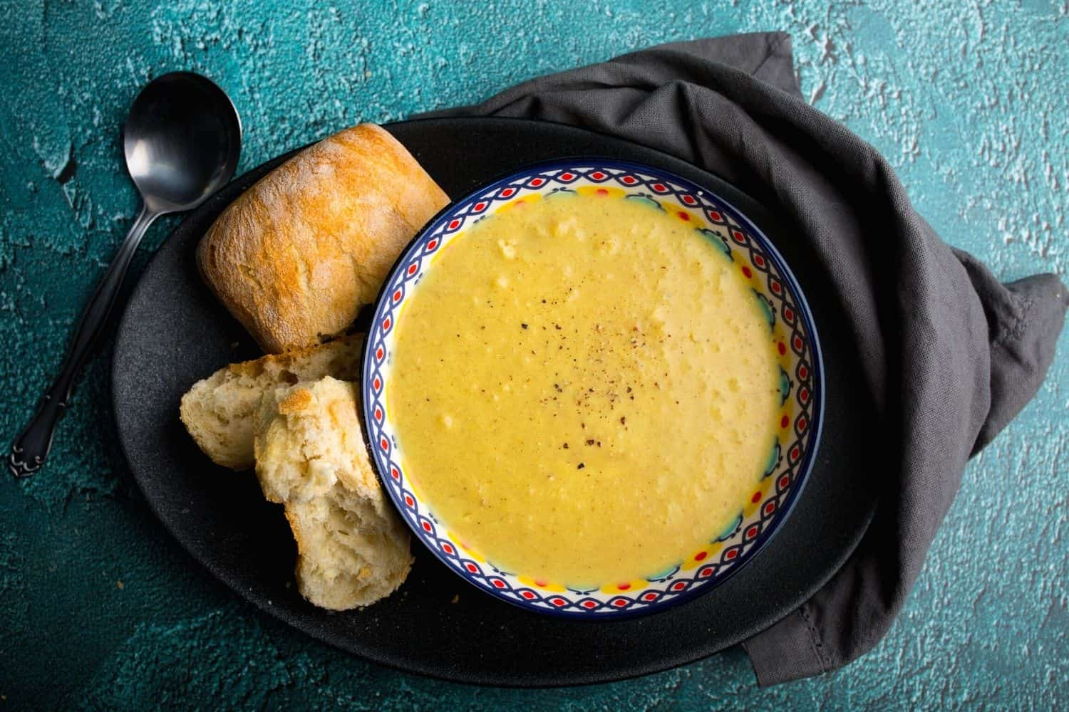 Roasted Cauliflower Soup with Freshly Baked Bread
