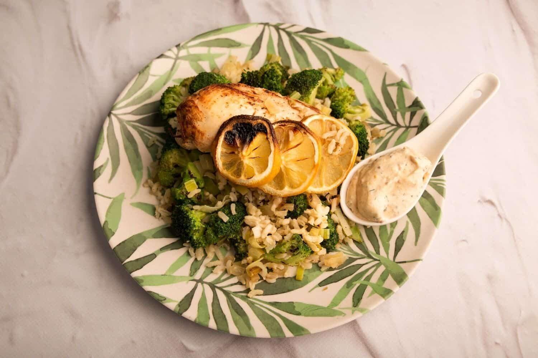 Chicken Breast with Creamy Dill Sauce & Broccoli-Leek Rice