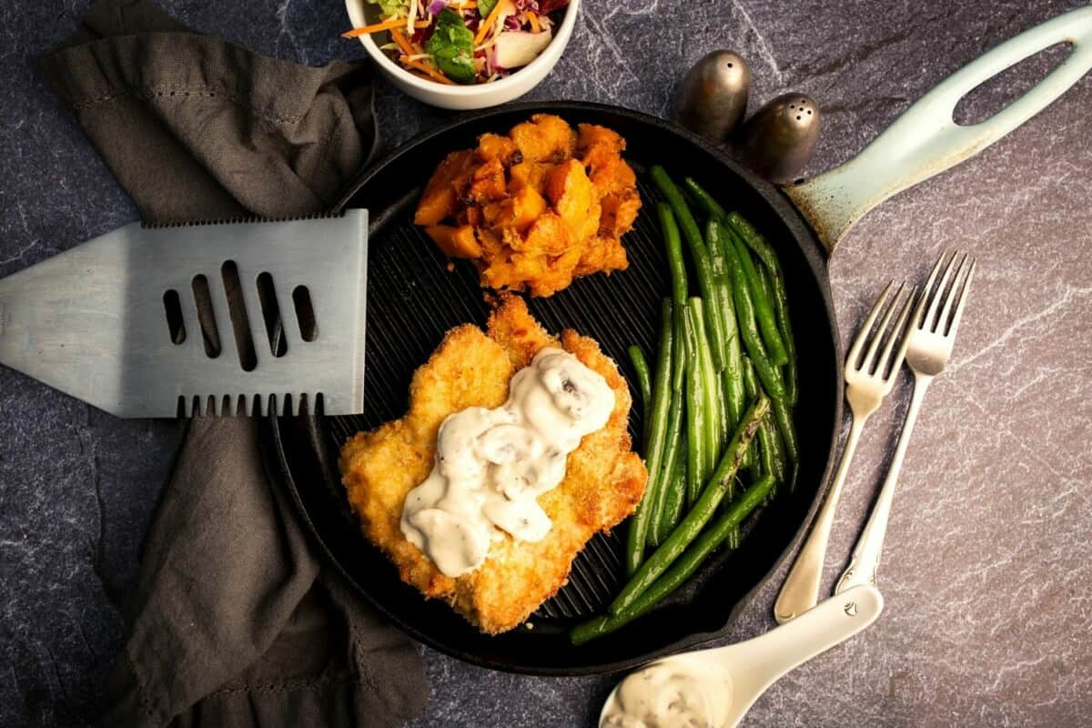 Chicken Schnitzel with Mushroom Sauce, Roasted Butternut and Green Beans