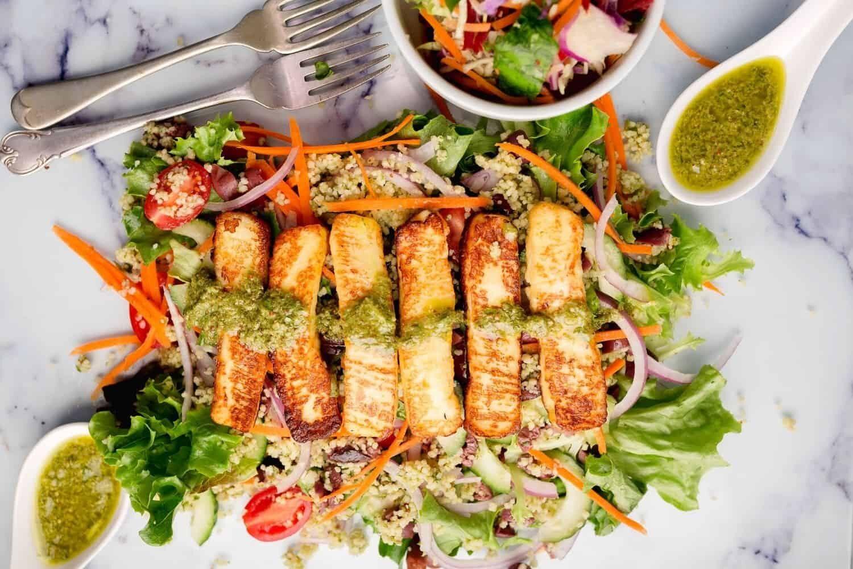 Grilled Halloumi & Couscous Salad with Salsa Verde