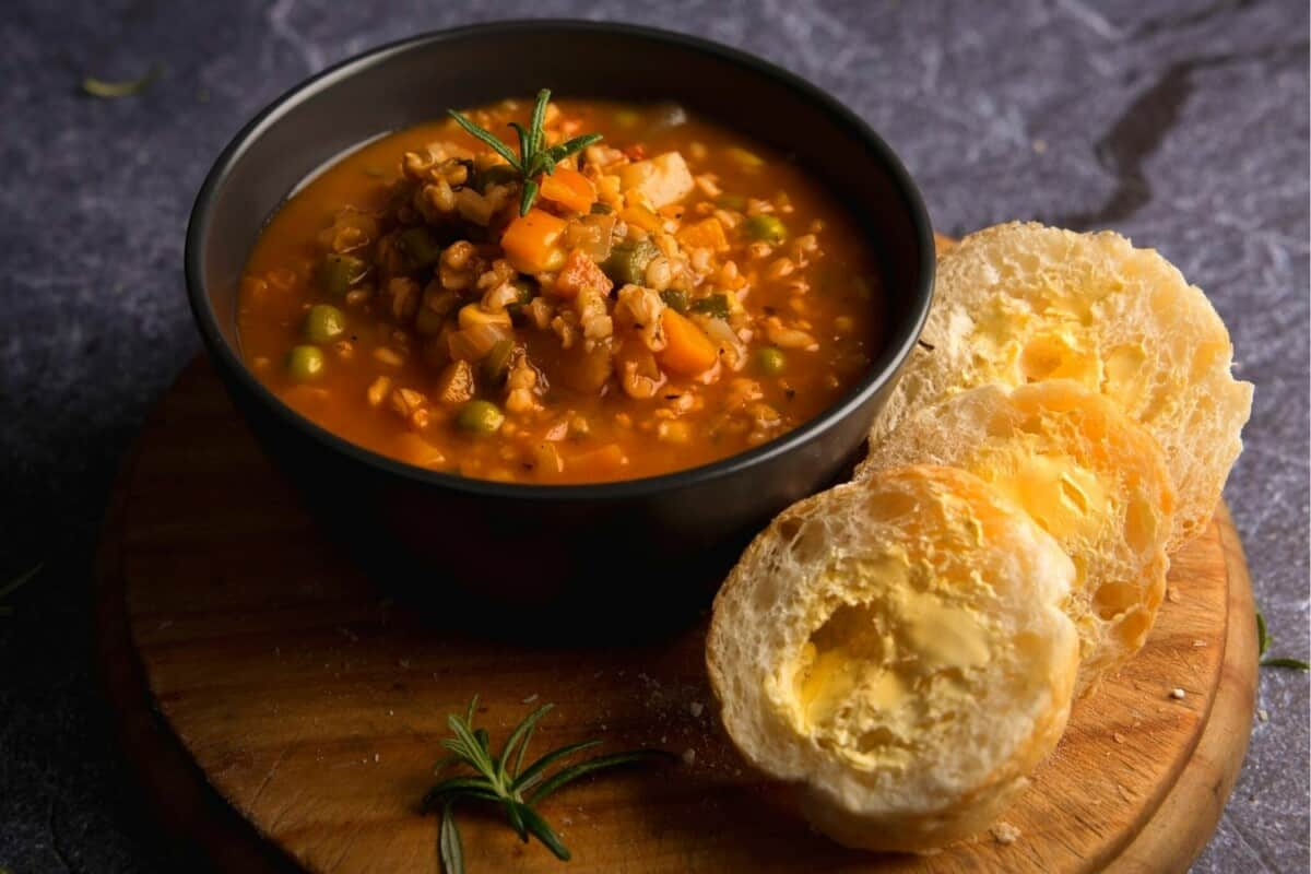 Hearty Veg & Barley Soup with Freshly Baked Bread