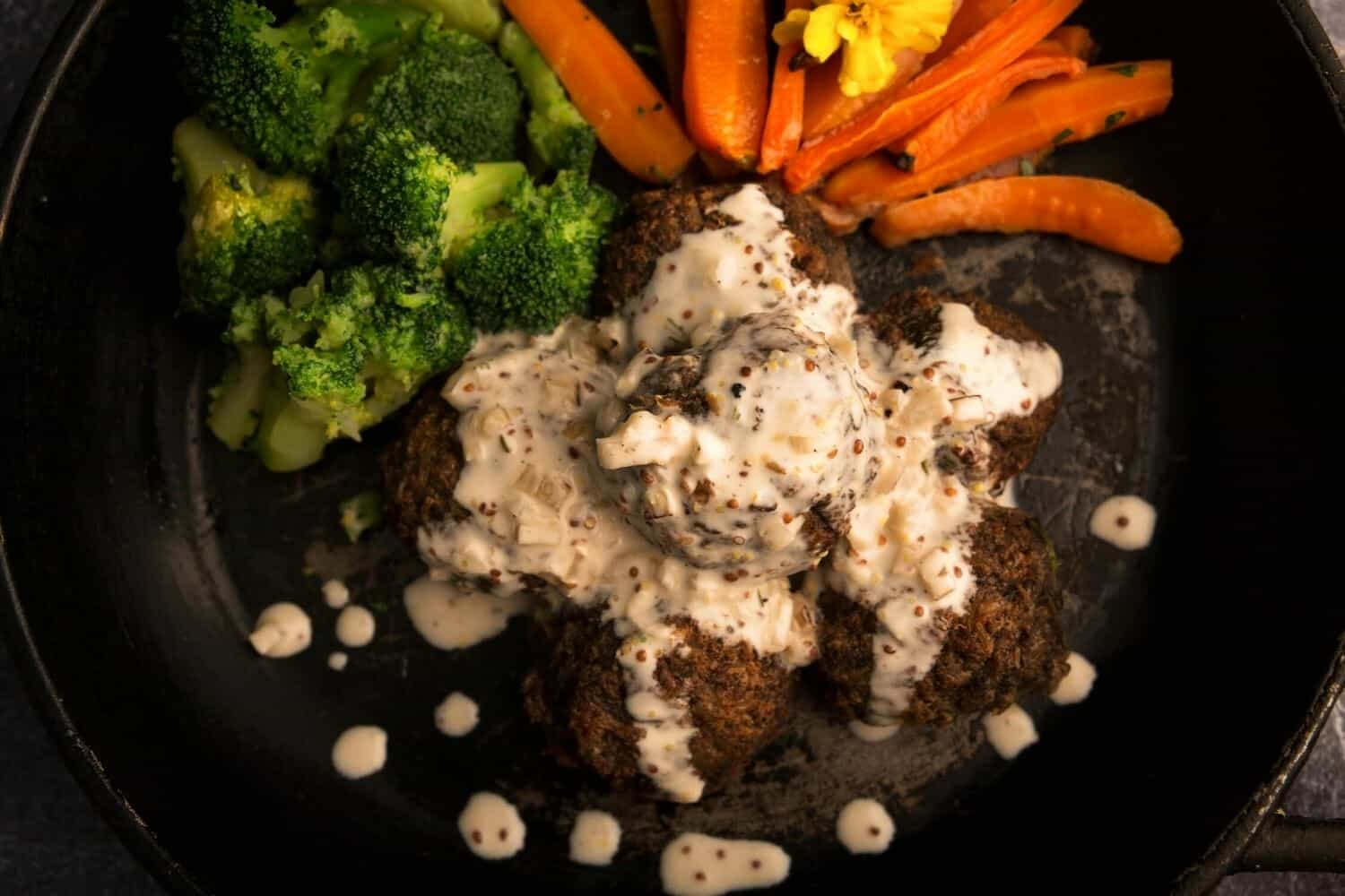 Mushroom & Butter Bean Balls with Twice Roasted Carrots & Broccoli