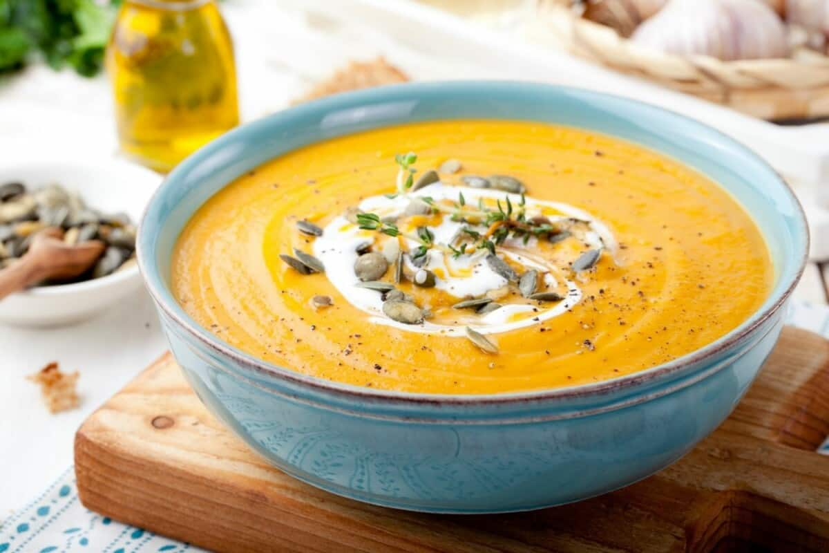 Roasted Butternut Soup with Honey Pumpkin Seeds and Rolls