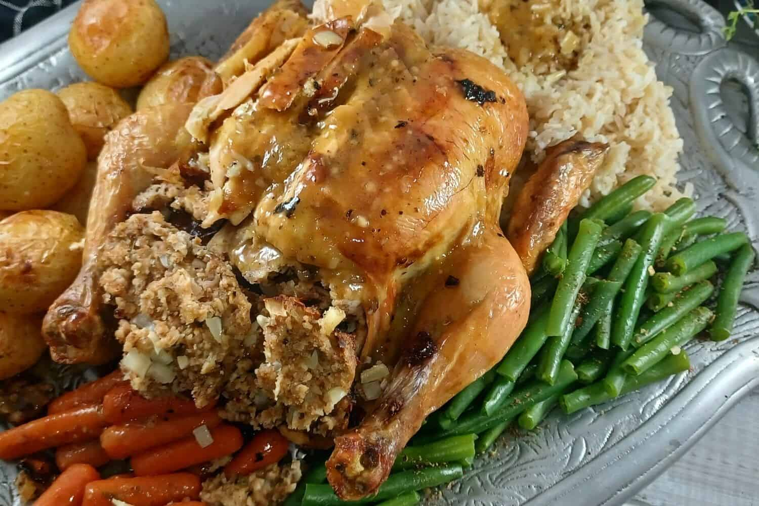 Roasted Chicken with Lemon and Stuffing