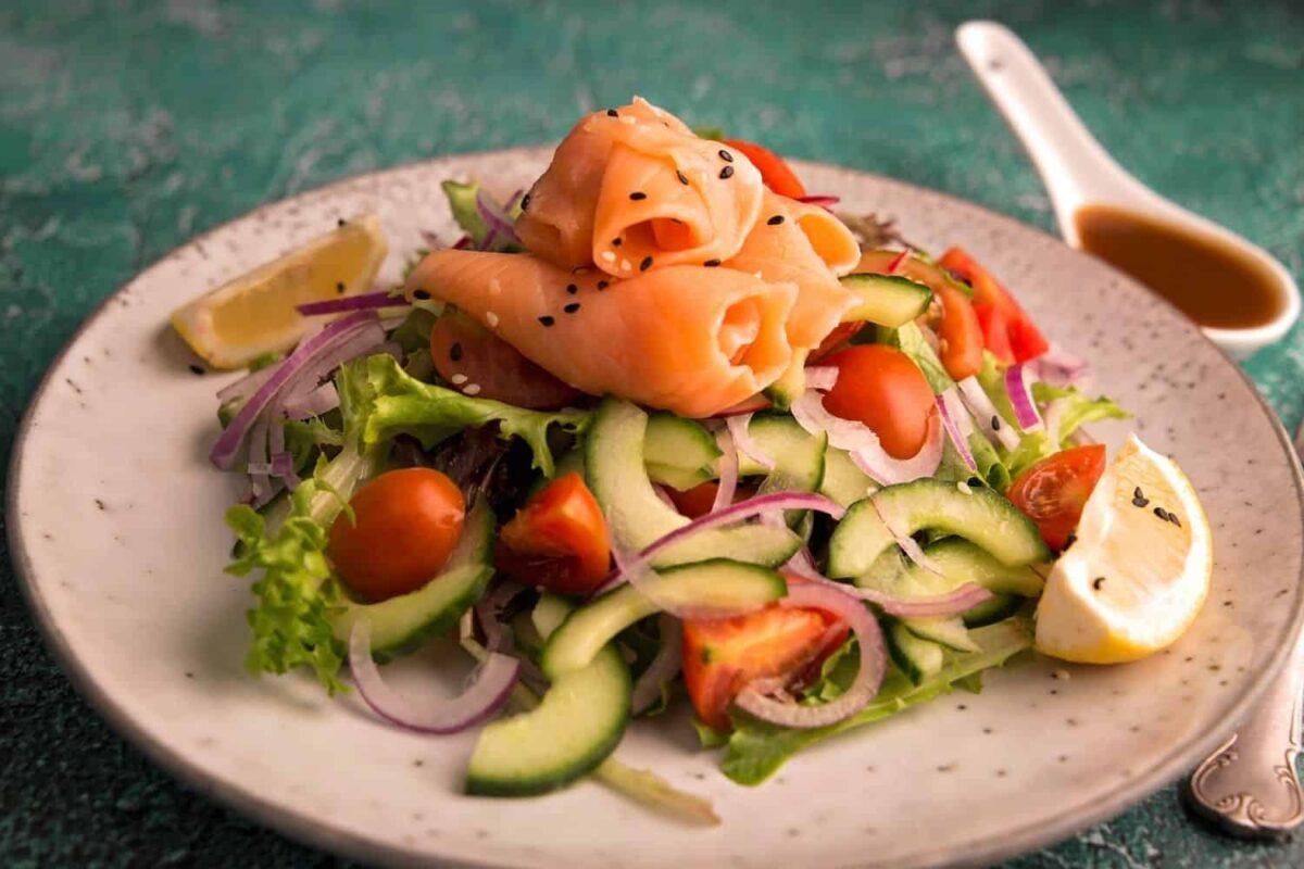 Smoked Salmon Trout Salad with Granadilla Dressing