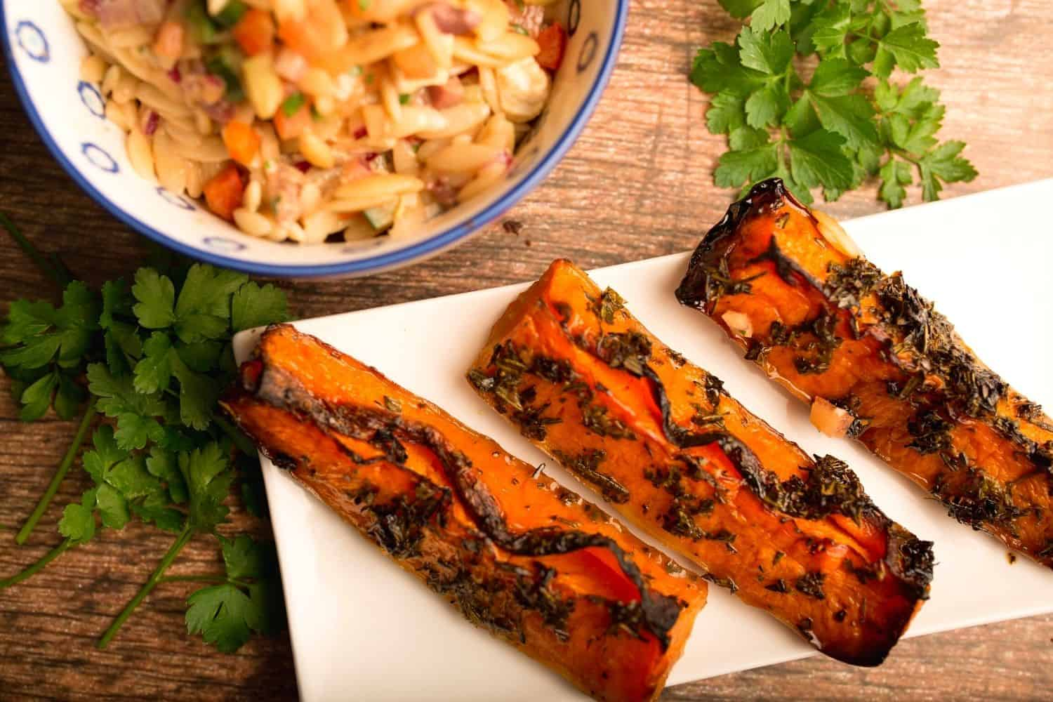 Sticky Butternut Wedges with Mediterranean Orzo Salad