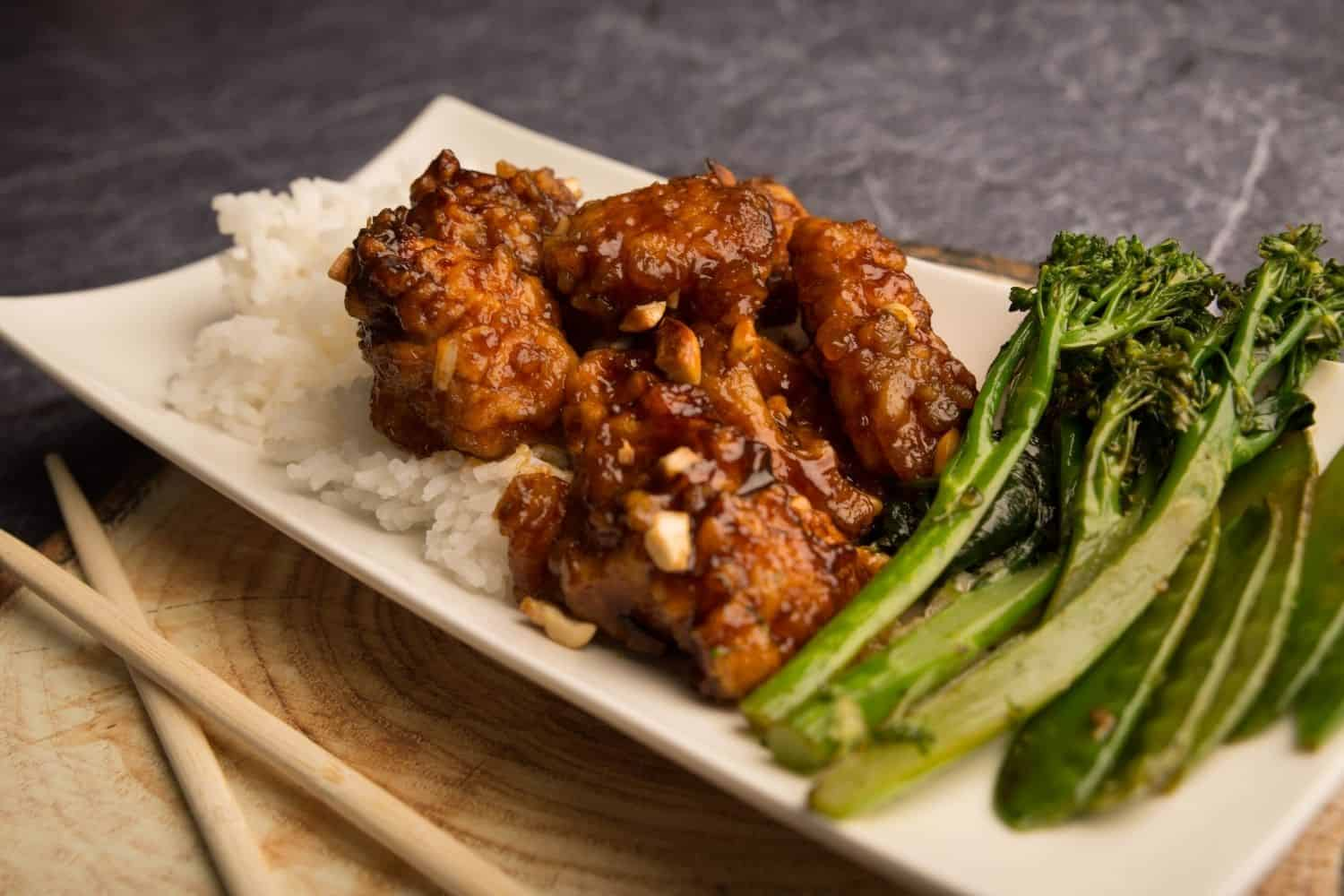 Sticky Cashew Chicken with Jasmine Rice and Asian Greens