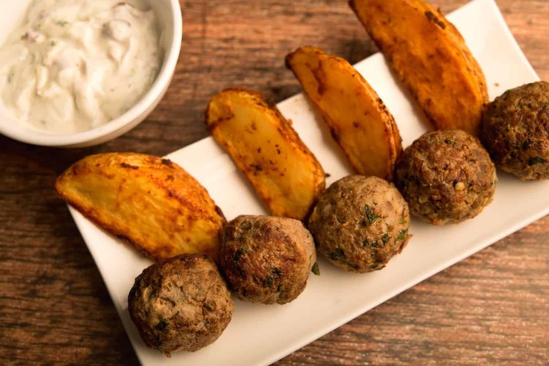 Beef Koftas with Potato Wedges