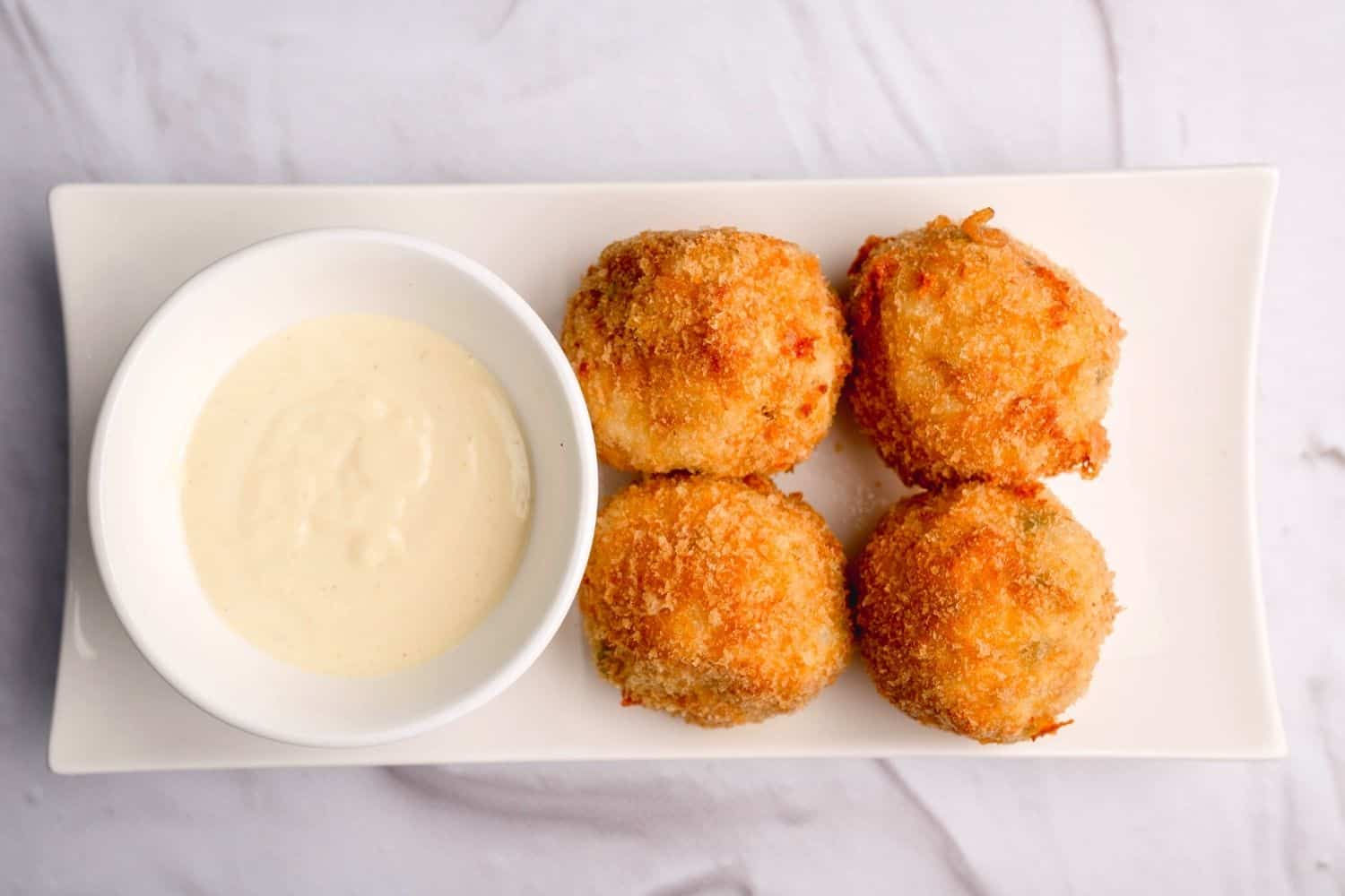 Chicken and Pea Rice Balls with Tangy Mayo