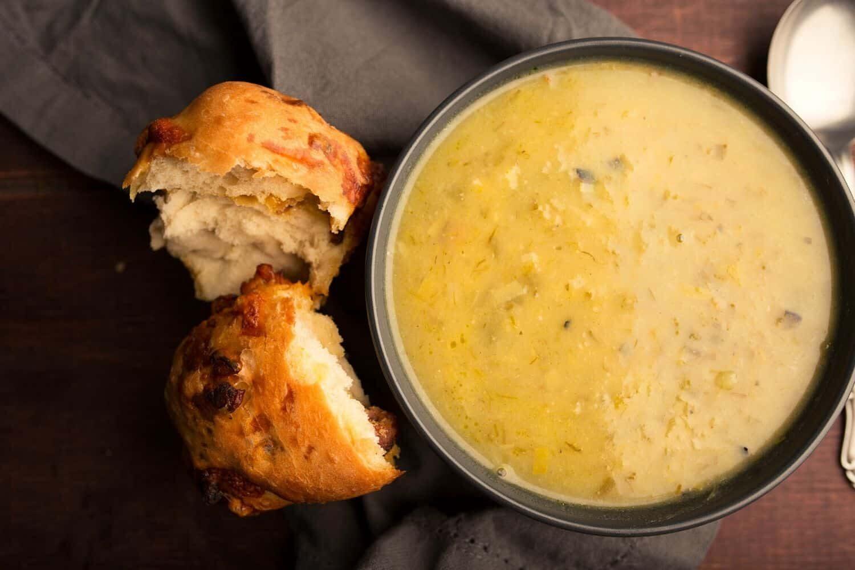 Creamy Potato and Burnt Leek Soup with Garlic Herb Bun