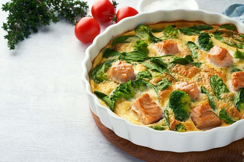 Smoked Salmon and Green Veggie Egg Frittata with Danish Feta
