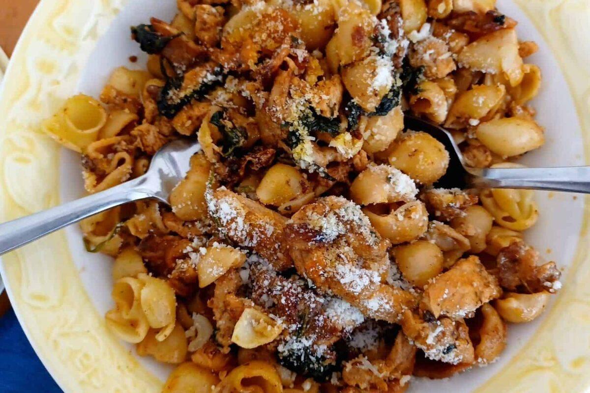 Chicken, Spinach, Tomatoes in Garlic Cream Pasta Sauce