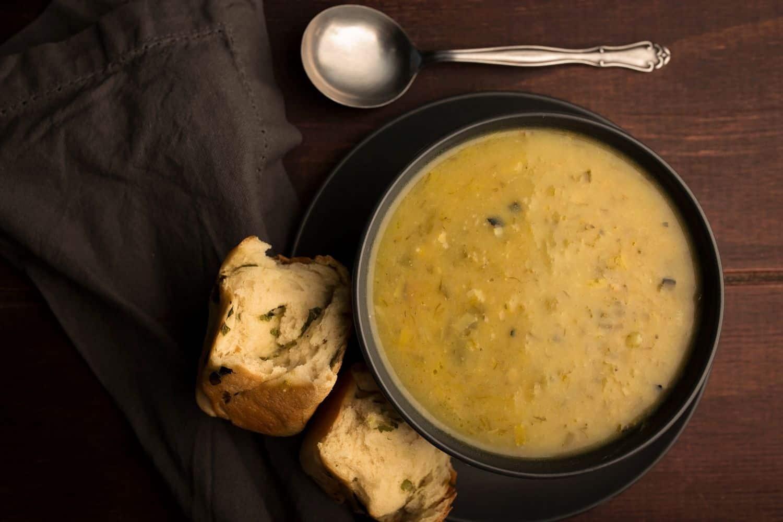 Creamy Potato and Burnt Leek Soup with Cheesy Bacon Buns