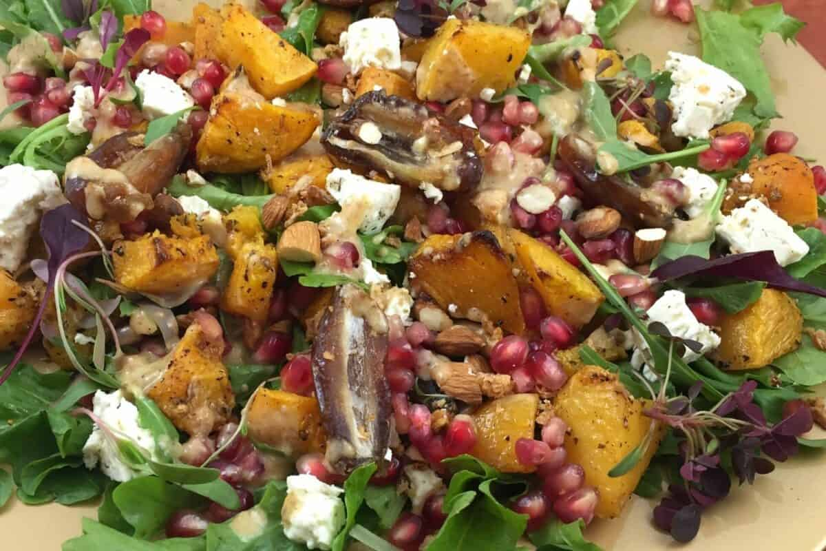 Healthy Butternut Roasted Salad with Pomegranates and Date dressing